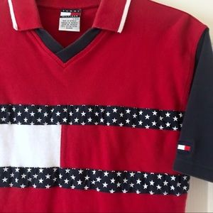 Tommy Hilfiger Red American Flag Polo sz large